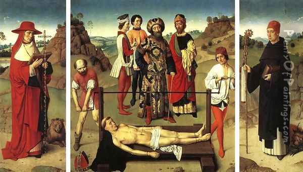 Martyrdom of St Erasmus (triptych) 3 Oil Painting - Dieric the Elder Bouts