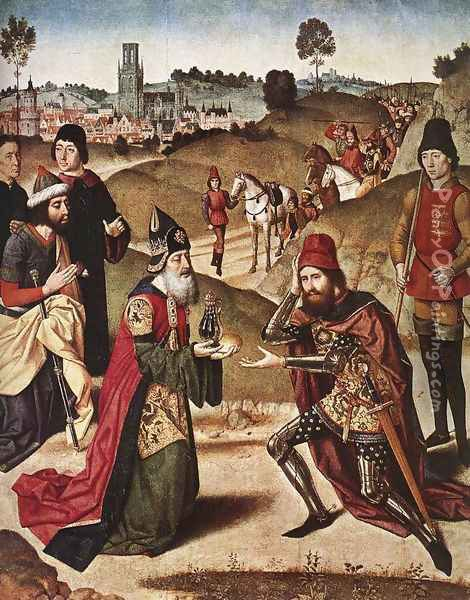 The Meeting of Abraham and Melchizedek 1464-67 Oil Painting - Dieric the Elder Bouts