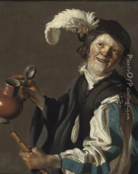 A Boy Holding A Flute And Jug Oil Painting - Dirck Van Baburen