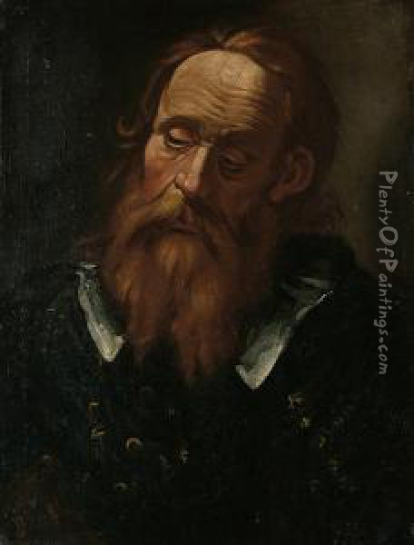 Portrait Of A Bearded Gentleman, Bust-length In Black Costume With A White Collar Oil Painting - Dirck Van Baburen