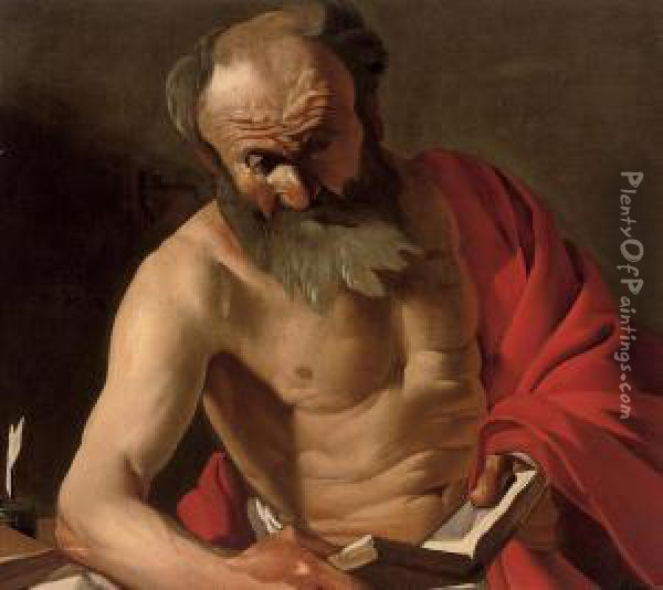 Saint Jerome Reading Oil Painting - Dirck Van Baburen