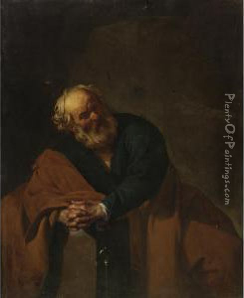 The Penitent Saint Peter Oil Painting - Dirck Van Baburen