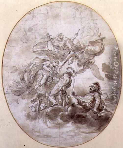 The Apotheosis of Hercules, design for a ceilng fresco for the Palazzo Pepoli in Bologna Oil Painting - Domenico Maria Canuti
