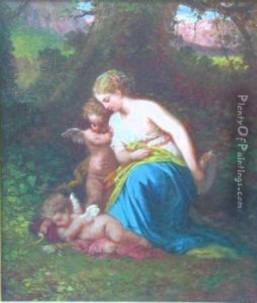 Cherub And A Wood Nymph Sing Cupid To Sleep Oil Painting - Dorothy Tennant