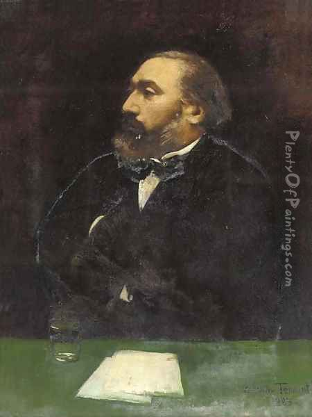 Portrait of Leon Gambetta (1838-1882), half-length, in a black jacket and white shirt, at a writing desk Oil Painting - Dorothy Tennant