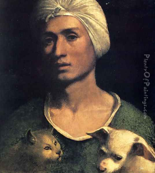 Portrait Of A Young Man With A Dog And A Cat Oil Painting - Dosso Dossi