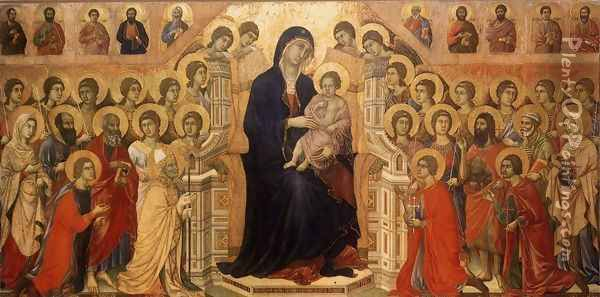 Maesta (Madonna with Angels and Saints) 1308-11 Oil Painting - Duccio Di Buoninsegna