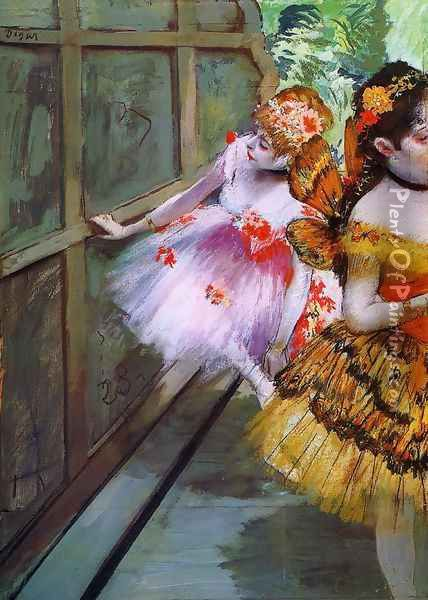 Ballet Dancers in Butterfly Costumes (detail) Oil Painting - Edgar Degas