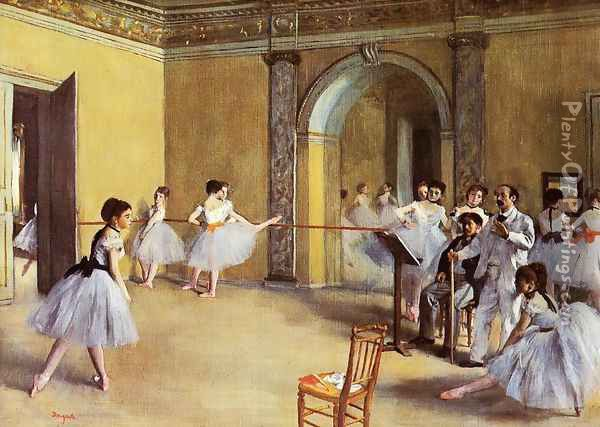 Dance Class at the Opera, rue Le Peletier Oil Painting - Edgar Degas