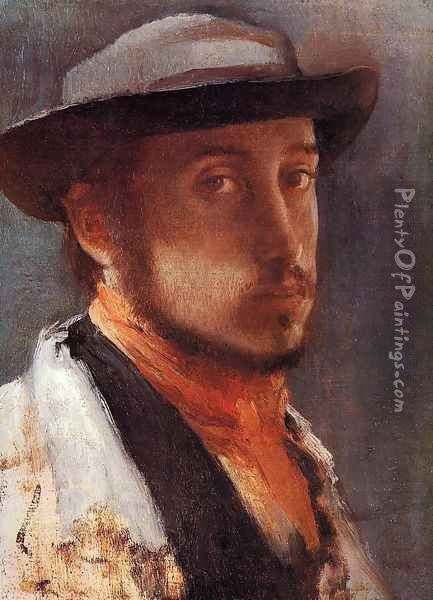 Self-Portrait in a Soft Hat Oil Painting - Edgar Degas