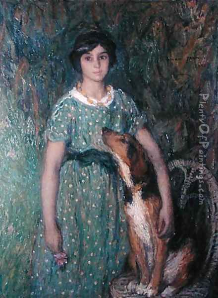 Young girl with a dog, 1913 Oil Painting - Edmond-Francois Aman-Jean