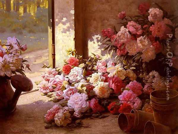 Jete De Fleurs Et Arrosoir (Freshly Picked Flowers With A Watering Can) Oil Painting - Edmond-Louis Maire