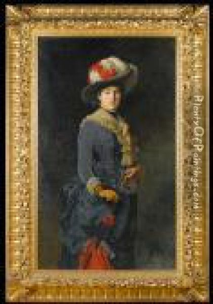Portrait Of A Young Lady, Wearing A Blue Dressand Carrying A Parasol Oil Painting - Edoardo Gelli