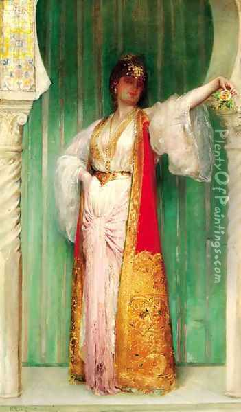 An Oriental beauty, standing in an alcove Oil Painting - Edouard Frederic Wilhelm Richter