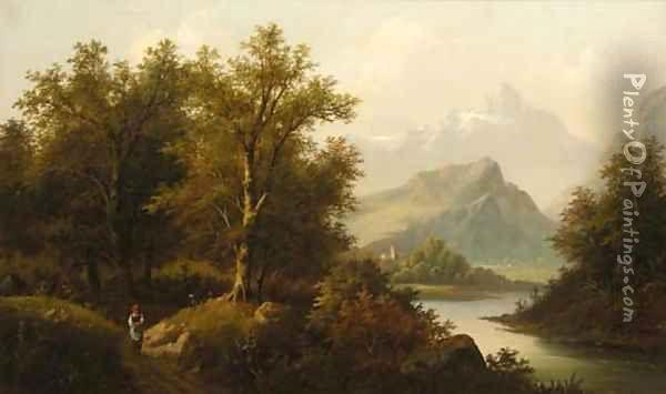A figure by a lake with a church and mountains beyond; and A figure by a chalet in an Alpine landscape Oil Painting - Eduard Boehm