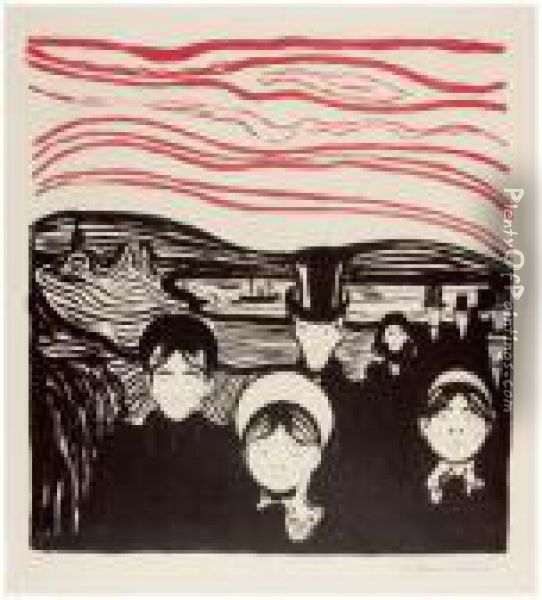 Angst - Angstgefuhl - Le Soir Oil Painting - Edvard Munch