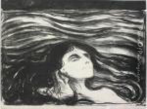 By The Deathbed (woll 64) Oil Painting - Edvard Munch