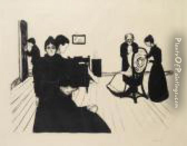Death In The Sickroom (w. 65) Oil Painting - Edvard Munch