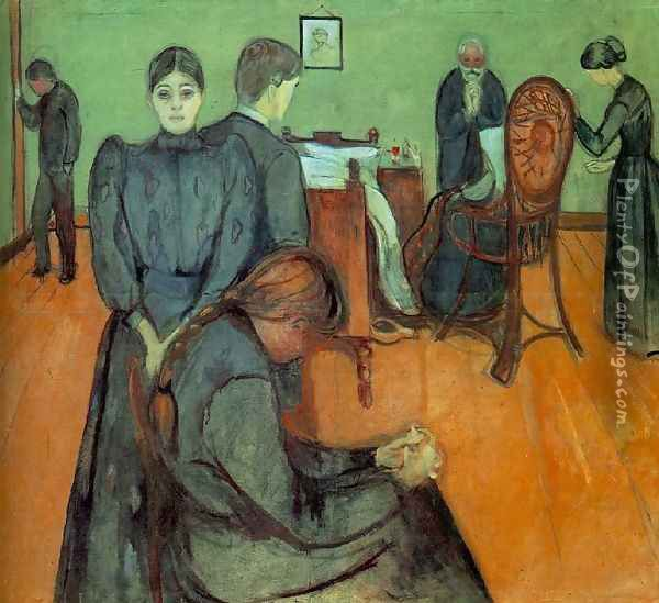 Death in the Sick-Room Oil Painting - Edvard Munch