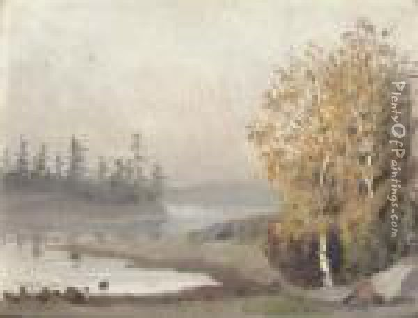 Early Morning River Landscape Oil Painting - Edvard Munch