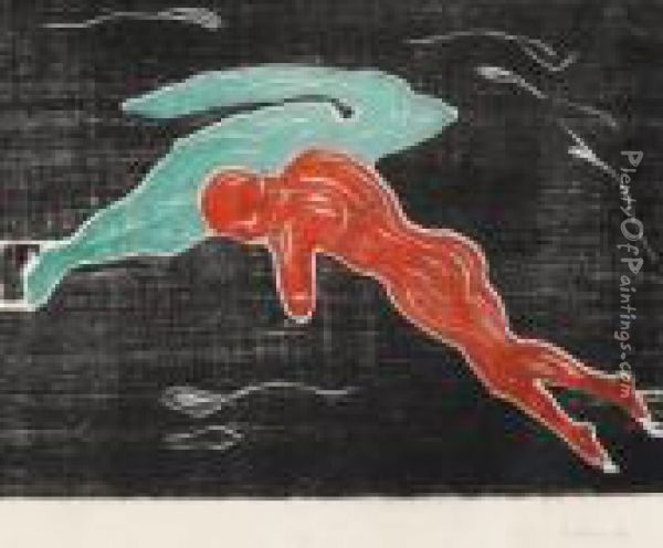 Encounter In Space 1898-99 Oil Painting - Edvard Munch