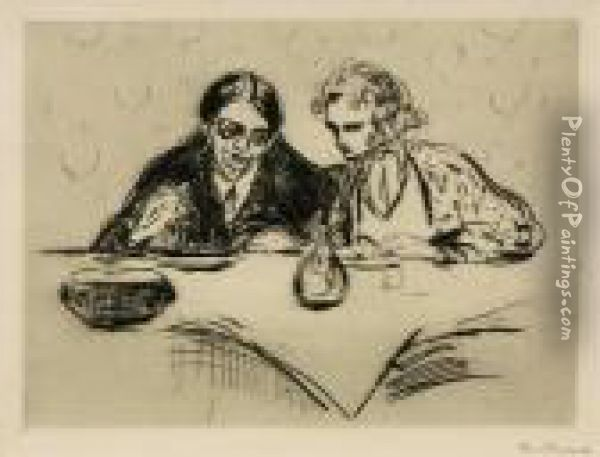 Evening Meal Oil Painting - Edvard Munch