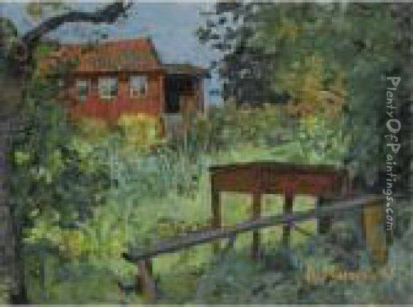 Hage Med Rodt Hus (garden With Red House) Oil Painting - Edvard Munch
