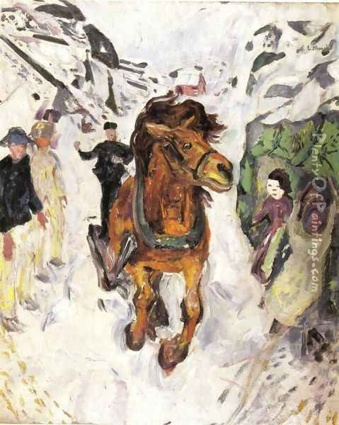 Horse galloping 1912 Oil Painting - Edvard Munch