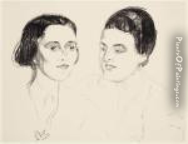 Louise Und Else Heyerdahl Oil Painting - Edvard Munch