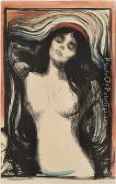 Madonna Woman Making Love Oil Painting - Edvard Munch