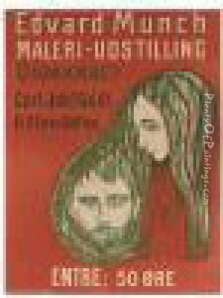 Man's Head In Woman's Hair, Poster (w.107) Oil Painting - Edvard Munch