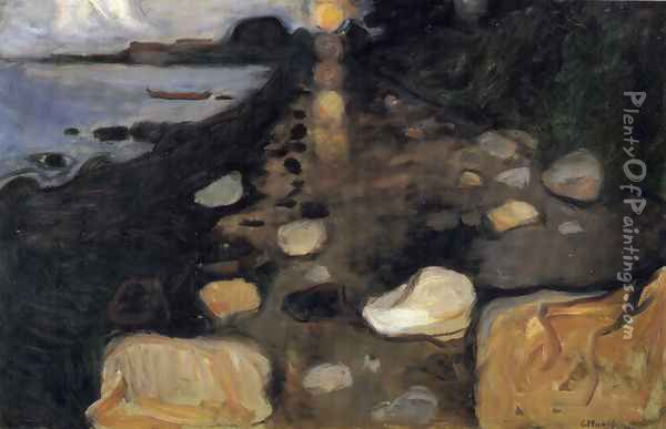 Moonlight on the Shore Oil Painting - Edvard Munch