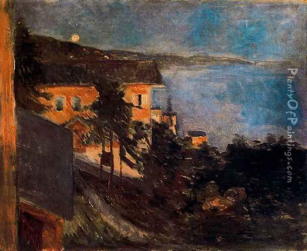 Moonlight over Oslo Fjord Oil Painting - Edvard Munch