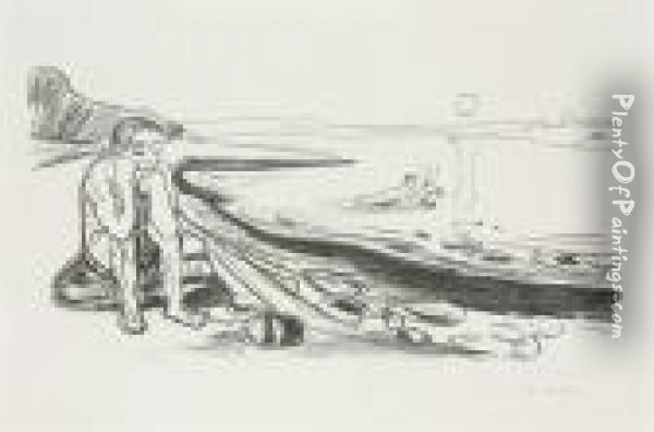 Omega's Flight, From Alpha And Omega Oil Painting - Edvard Munch