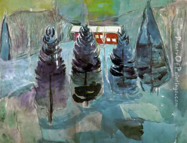 Red House and Spruces Oil Painting - Edvard Munch