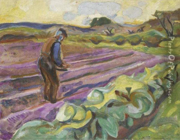 Samannen (the Sower) Oil Painting - Edvard Munch
