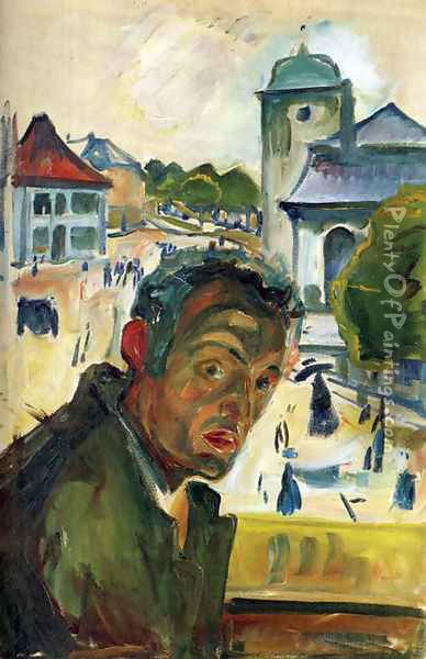 Self-Portrait in Bergen Oil Painting - Edvard Munch
