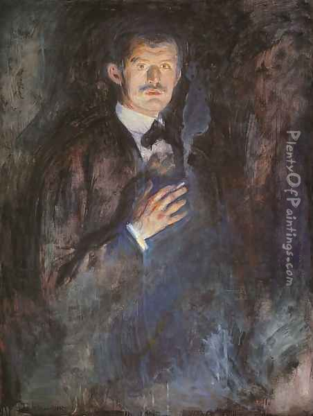 Self-Portrait with a Burning Cigarette Oil Painting - Edvard Munch