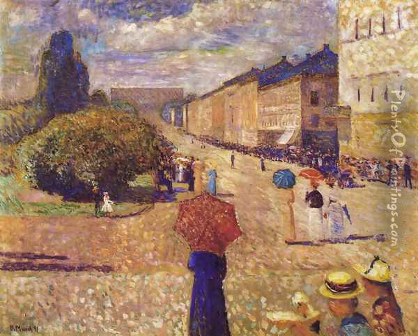 Spring Day on Karl Johan Street Oil Painting - Edvard Munch