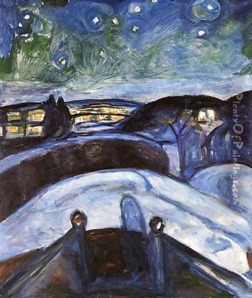 Starry Night Oil Painting - Edvard Munch