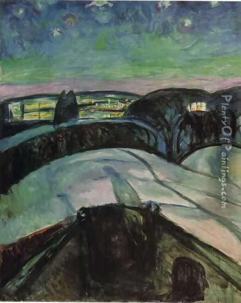 Starry night 1923 Oil Painting - Edvard Munch