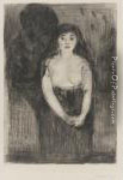 Study Of A Model (modellstudie) (woll 8; Schieffler 9) Oil Painting - Edvard Munch