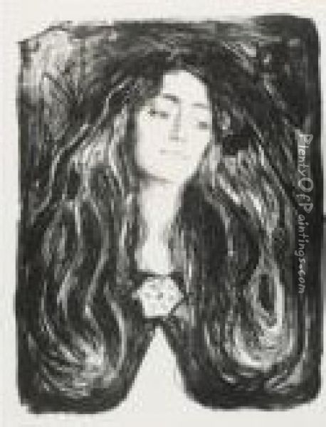 The Brooch. Eva Mudocci Oil Painting - Edvard Munch