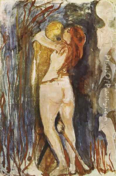 The Death and the young girl 1893 Oil Painting - Edvard Munch
