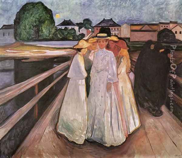 The Ladies on the Bridge 2 Oil Painting - Edvard Munch
