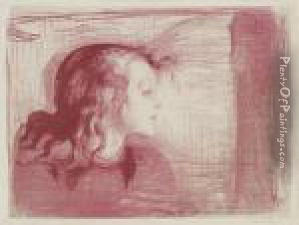 The Sick Child I (schiefler 59; Woll 72) Oil Painting - Edvard Munch