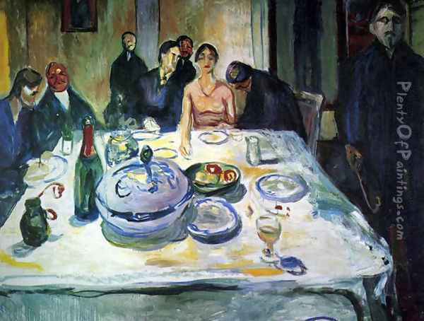 The Wedding of the Bohemian, Munch Seated on the Far Left Oil Painting - Edvard Munch