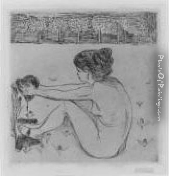 The Woman And The Heart (das Weib Und Das Herz) (w. 55; S. 48) Oil Painting - Edvard Munch