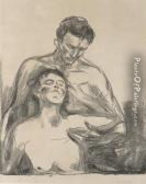 Two People Oil Painting - Edvard Munch