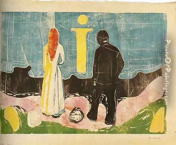 Two People. The Lonely Ones Oil Painting - Edvard Munch